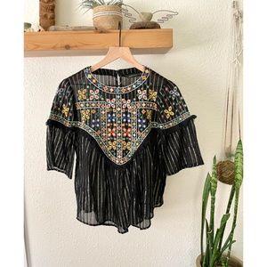 Zara embroidered fringe detail top